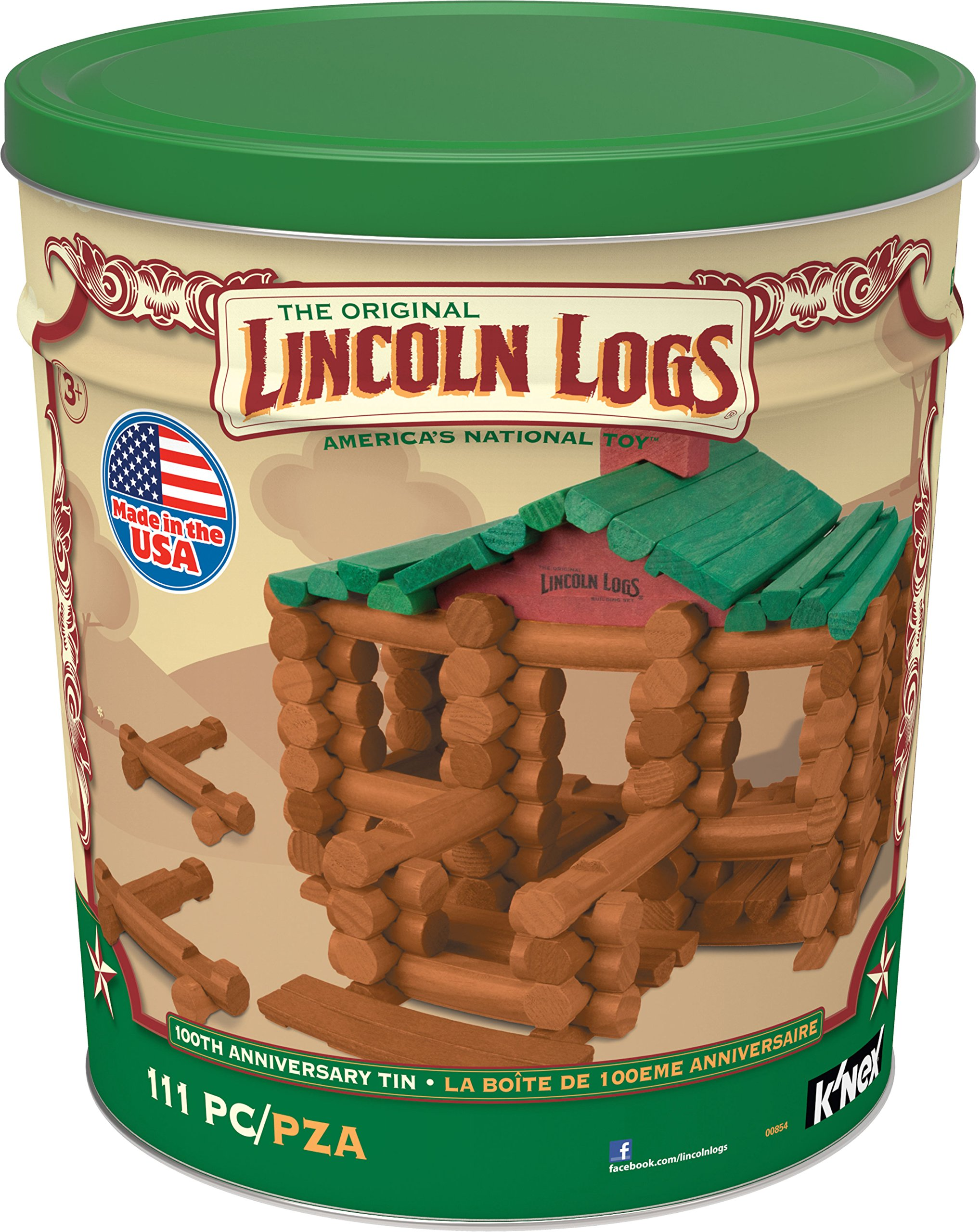 K'NEX LINCOLN LOGS – 100th Anniversary Tin - 111 All-Wood Pieces – Ages 3+ Construction Education Toy