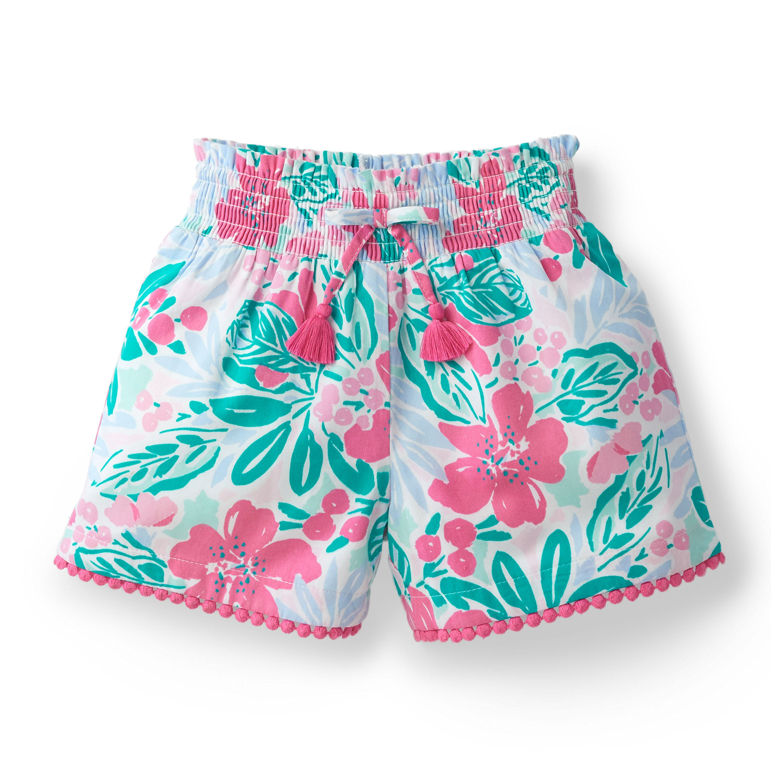 Hope & Henry Girls' Floral Smocked Short Made with Organic Cotton