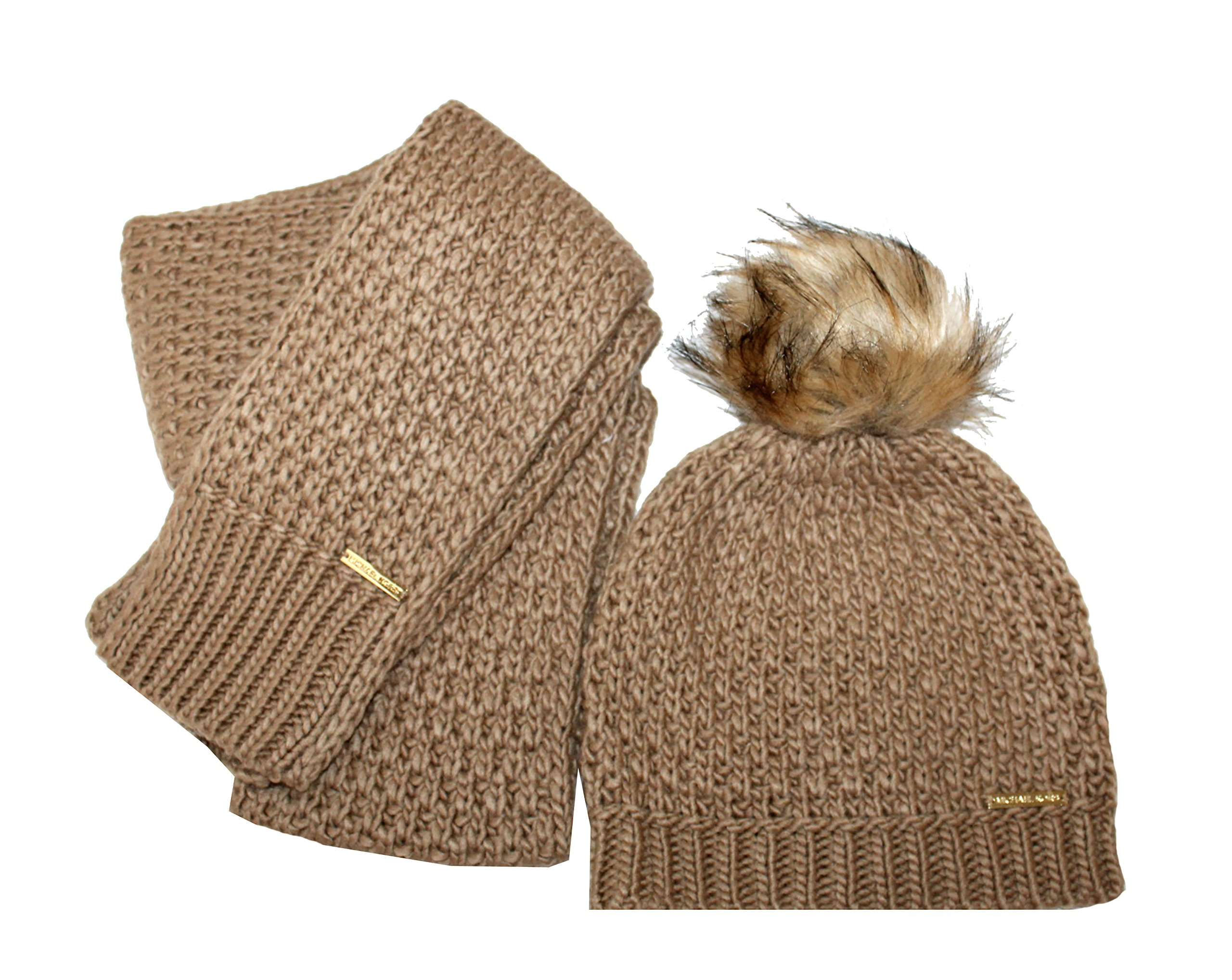 Michael Michael Kors Womens 2 Piece Knit Pom Hat and Scarf Set Fall 2017