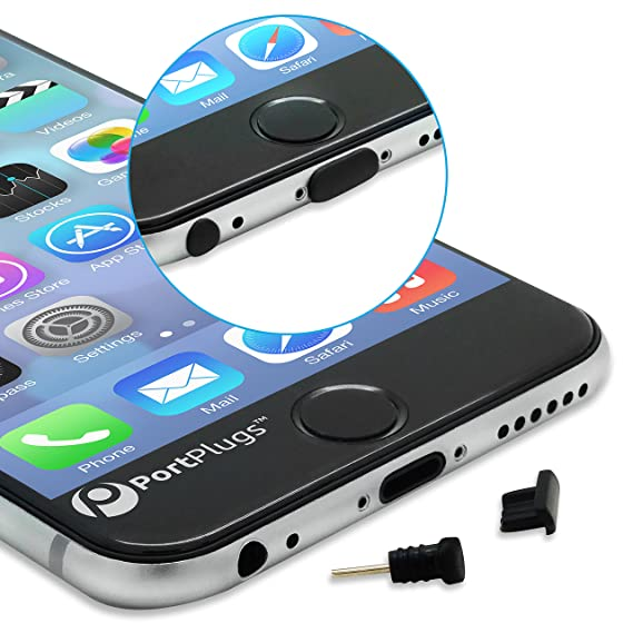 pretty nice 71eca 76d3b PortPlugs Dust Plugs (5 Sets) - Compatible iPhone 5, SE, 6, 6s, 6s, 6 Plus  - Headphone Jack Plugs with SIM Tool – Includes Cleaning Brush (Black)