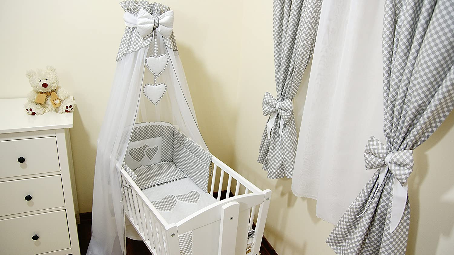 10p BabyBeddingSet //Bumper//Canopy //Holder//Quilt//CANOPY for Cot Bed or Cot GREY