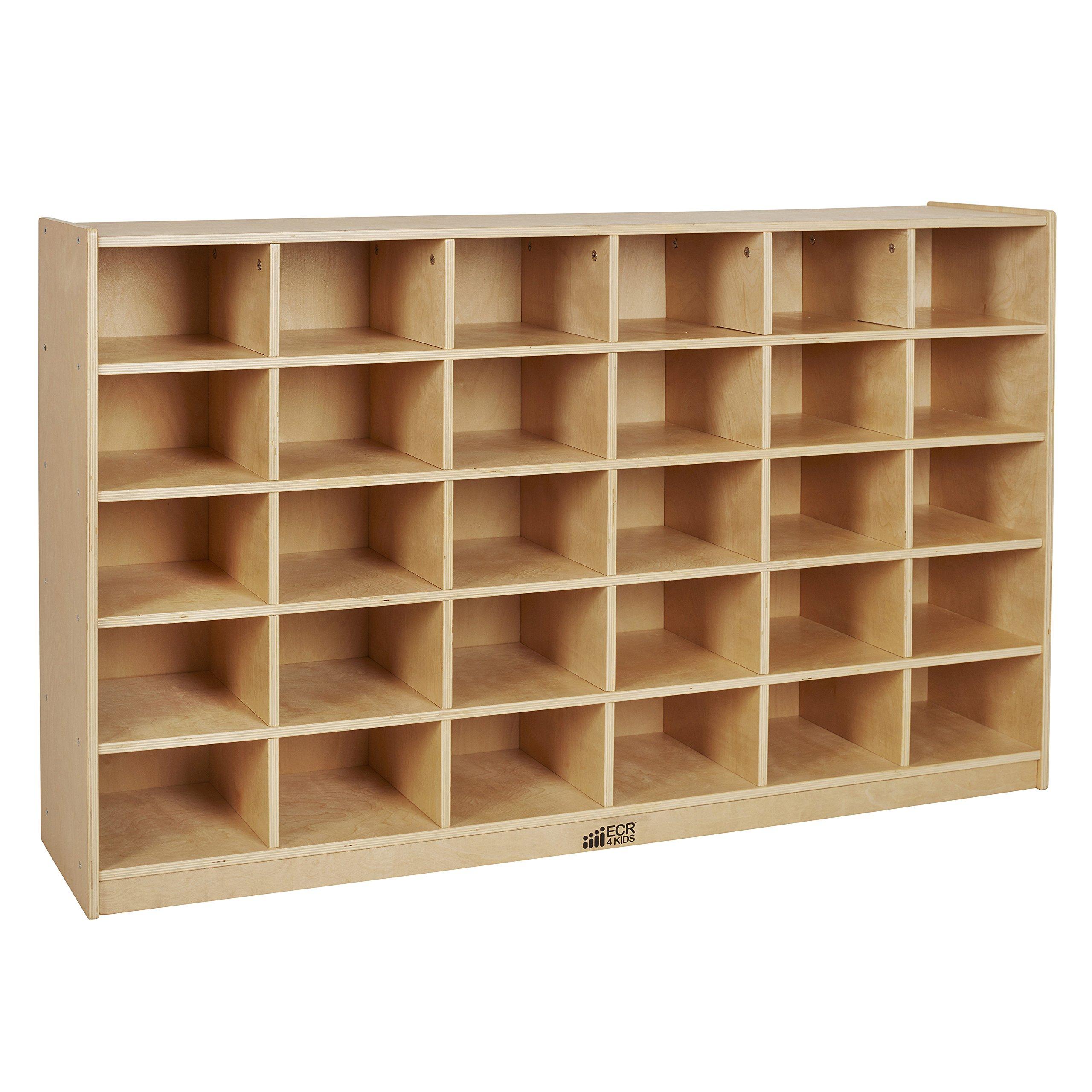 ECR4Kids Birch 30 Cubby Tray Cabinet by ECR4Kids