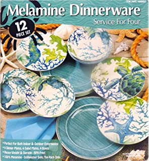 melamine dinnerware 12 piece set aquamarine - Melamine Dishes