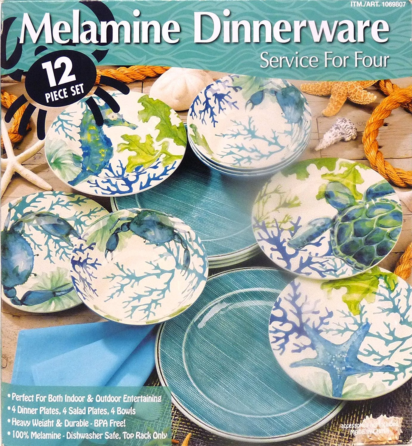 Amazon.com | Melamine Dinnerware 12 Piece Set - Aquamarine #1069807 Dinnerware Sets  sc 1 st  Amazon.com & Amazon.com | Melamine Dinnerware 12 Piece Set - Aquamarine #1069807 ...