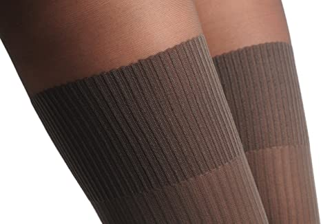 Grey With Opaque Striped Over The Knee Sock and Darker Top 60 Den T000780