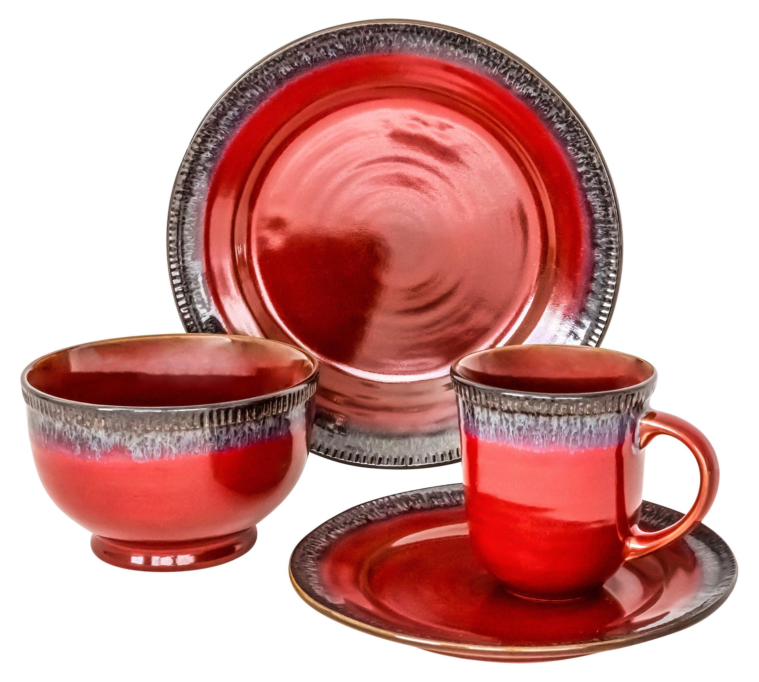 overandback 813056 Cara 16pc Dinnerware Set, Service for 4, Red