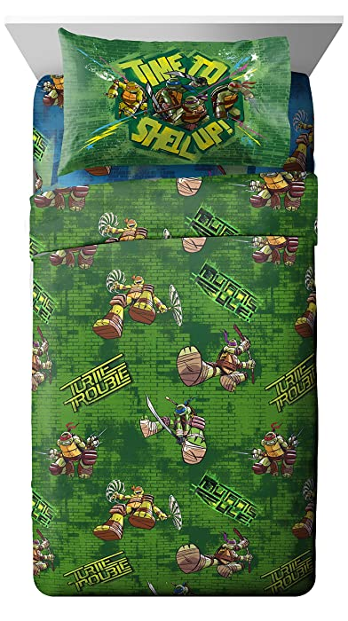 Nickelodeon Teenage Mutant Ninja Turtles 'Cross Hatching' Soft Microfiber Full 4 Piece Sheet Set