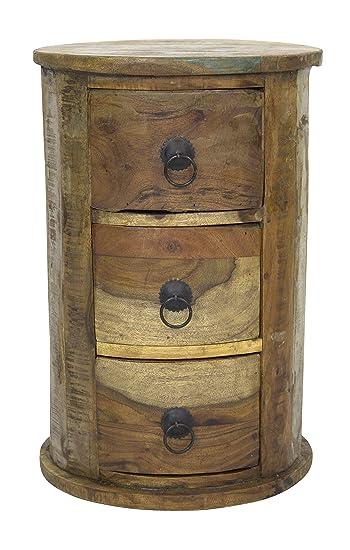 Schubladen Schrank Rund 46cm Aus Recyceltem Holz Amazon De Kuche