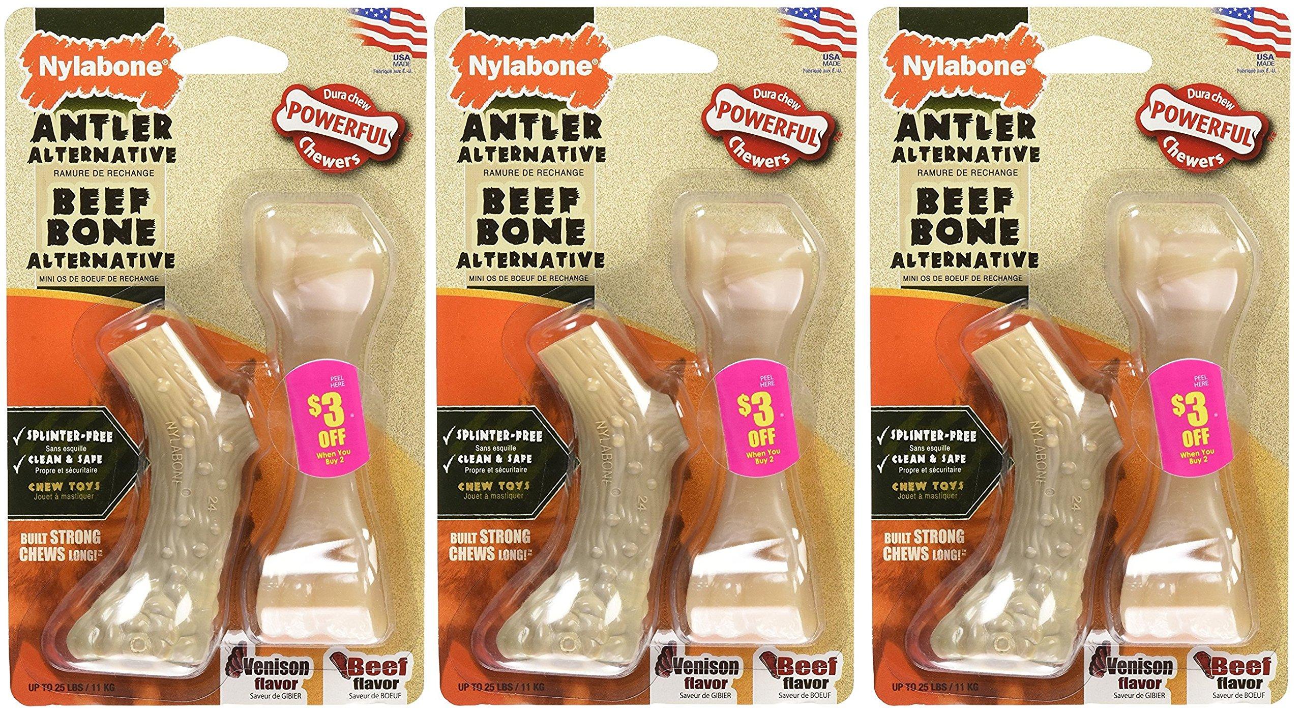 (3 Pack) Nylabone Dura Antler & Mini Beef Bone Alternative Dog Chew Toys