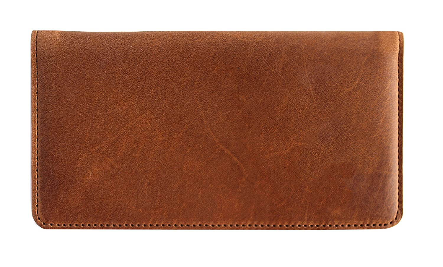 Genuine Top Grain Brown Leather Casual Checkbook Cover 011-000D1461-lthrbrncb