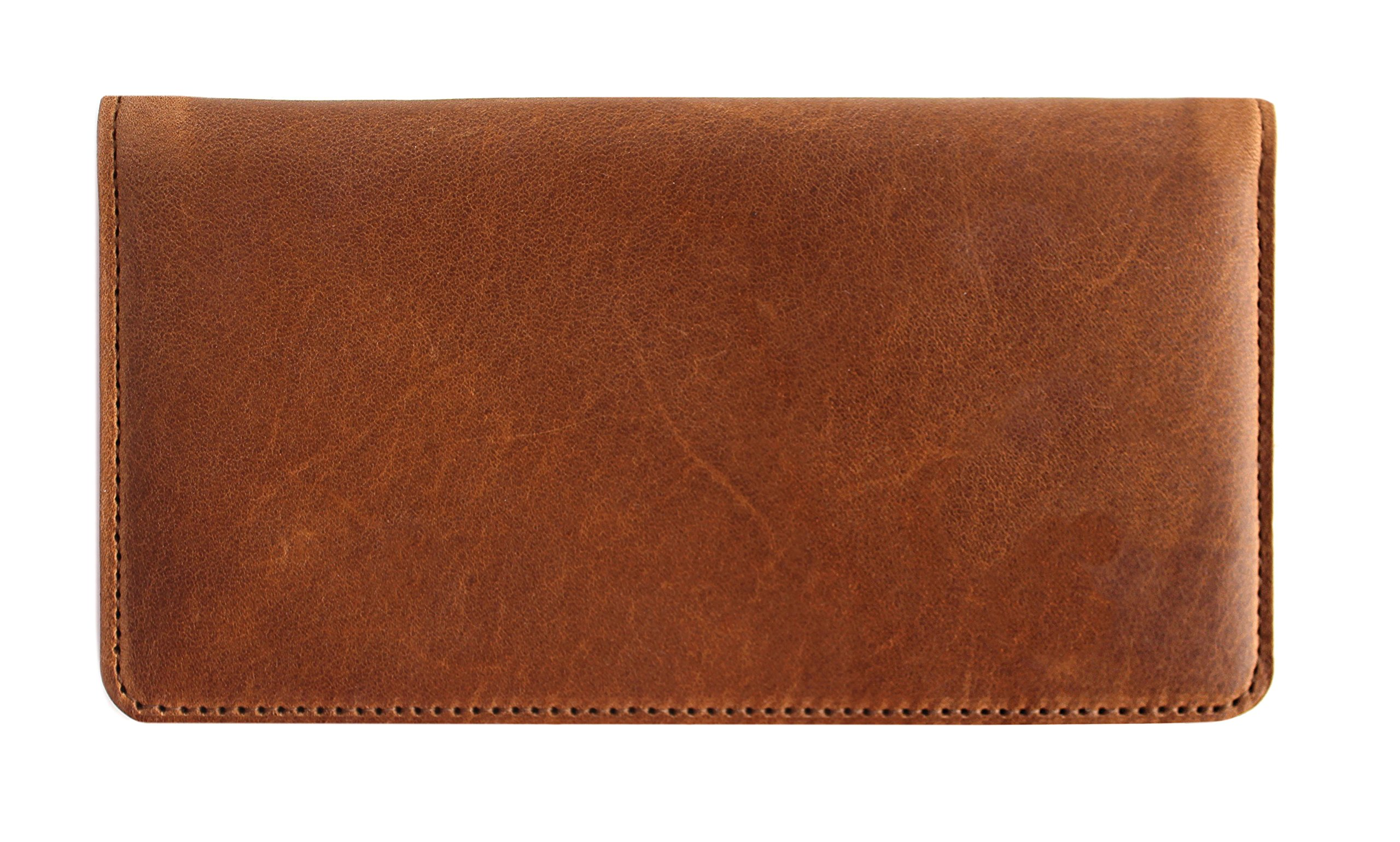 Genuine Top Grain Brown Leather Casual Checkbook Cover
