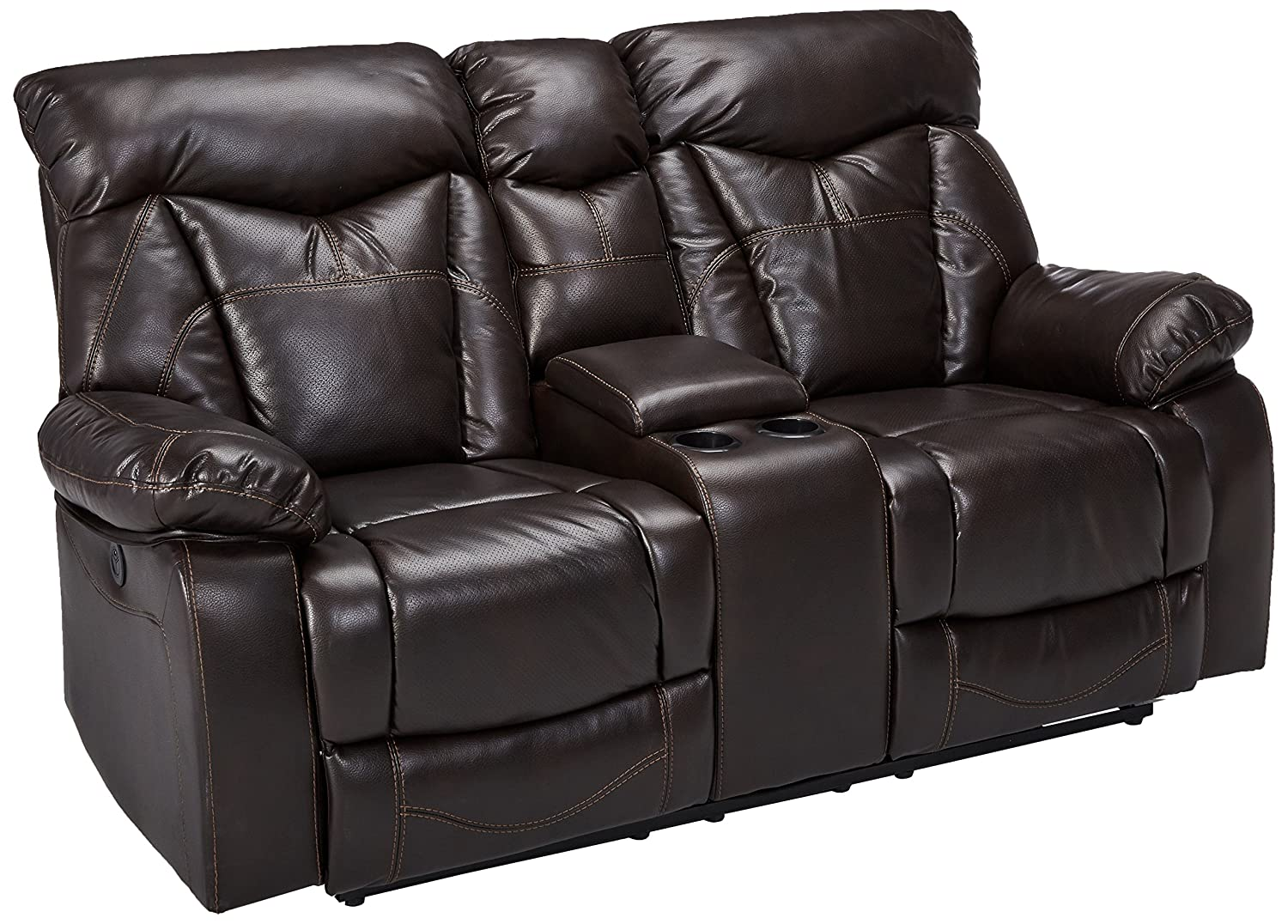 Zimmerman Power Loveseat with Cup Holders Dark Brown