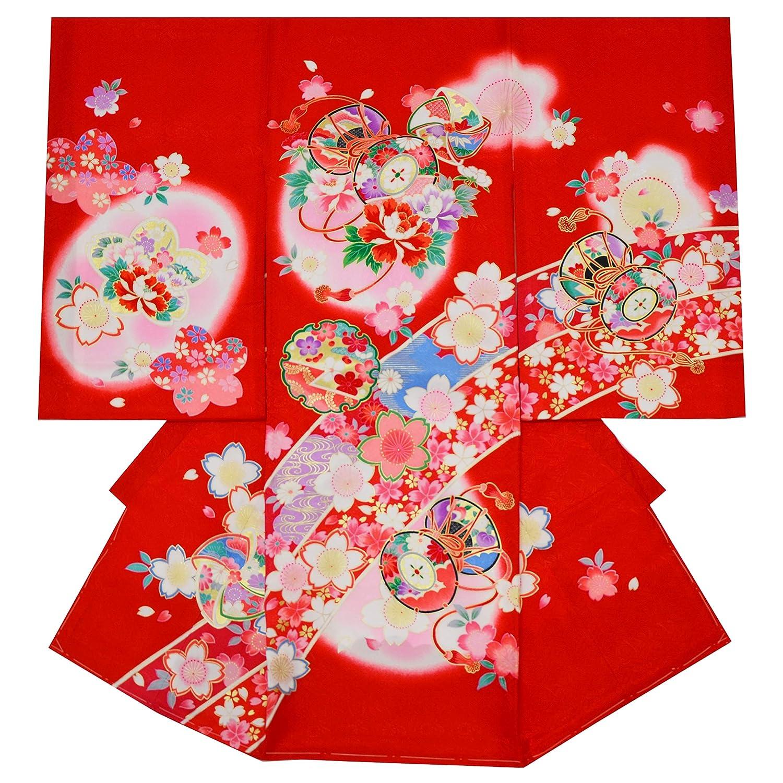 お宮参り 女の子 着物 初着 産着 正絹 鼓 雪輪 桜 赤 女児 祝着 一つ身 掛け着 着物タウン 3370-01173   B0799D6WWB