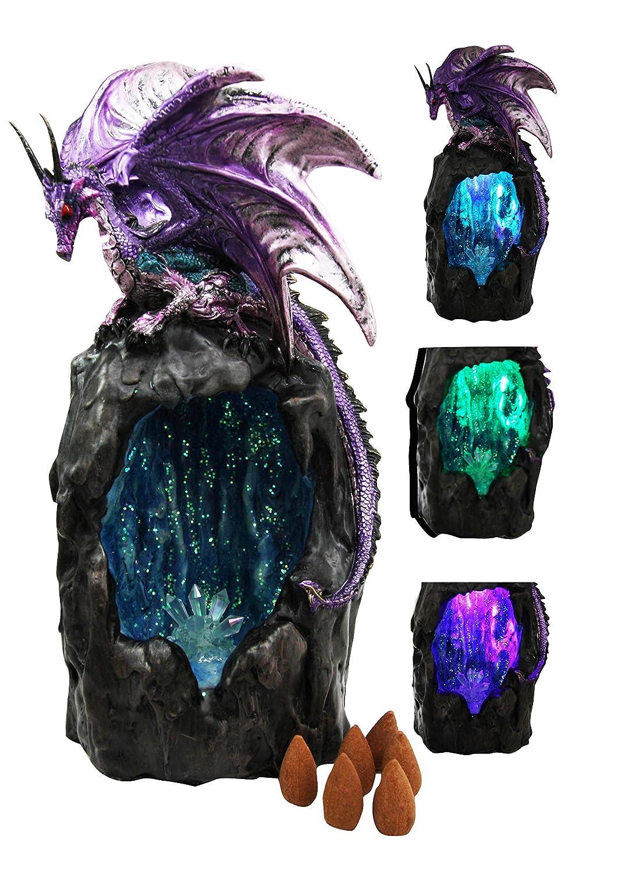 パープルAzurite Quartz Gemstone Dragon登山山Backflow Incense Burner Figurine Faux Stone B01DQY877Y