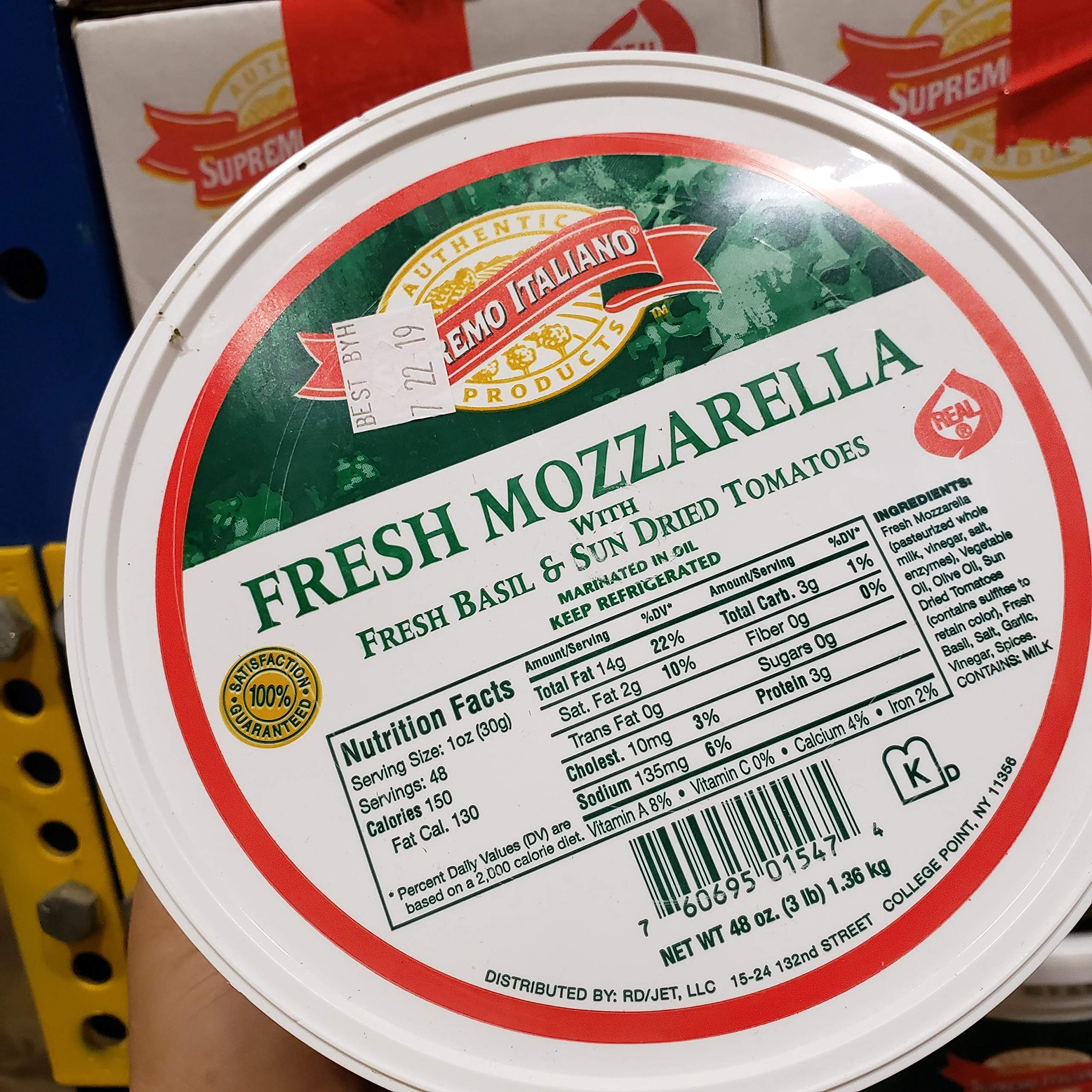 Supreme Italiano Fresh Mozzarella 48 oz X 2 packs Total 6lb Fresh Basil and Sun Dried Tomatoes