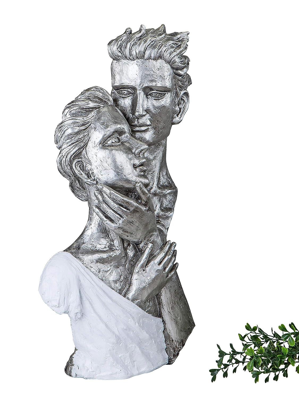 Exclusive decorativa Busto Scultura Amore coppia in ceramica bianco/argento altezza 40 cm Formano