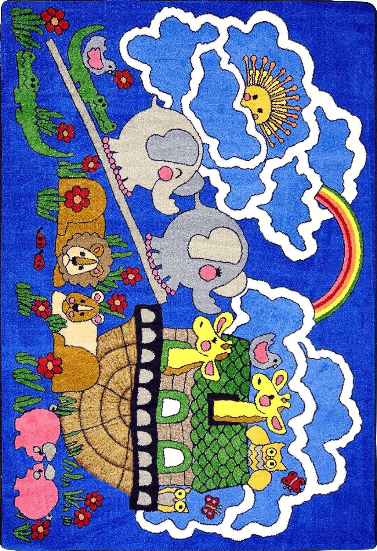 """B000R7MDXS Faith Based Noah's Ark Kids Rug Rug Size: 10'9"""" x 13'2"""" 91p2Bst3gD5L"""