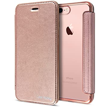 separation shoes d132c 497d1 Rose Gold Leather Case for iPhone 7 Plus, Clear Back Chrome Leather Flip  Case Cover Wallet for iPhone 7 Plus [5.5