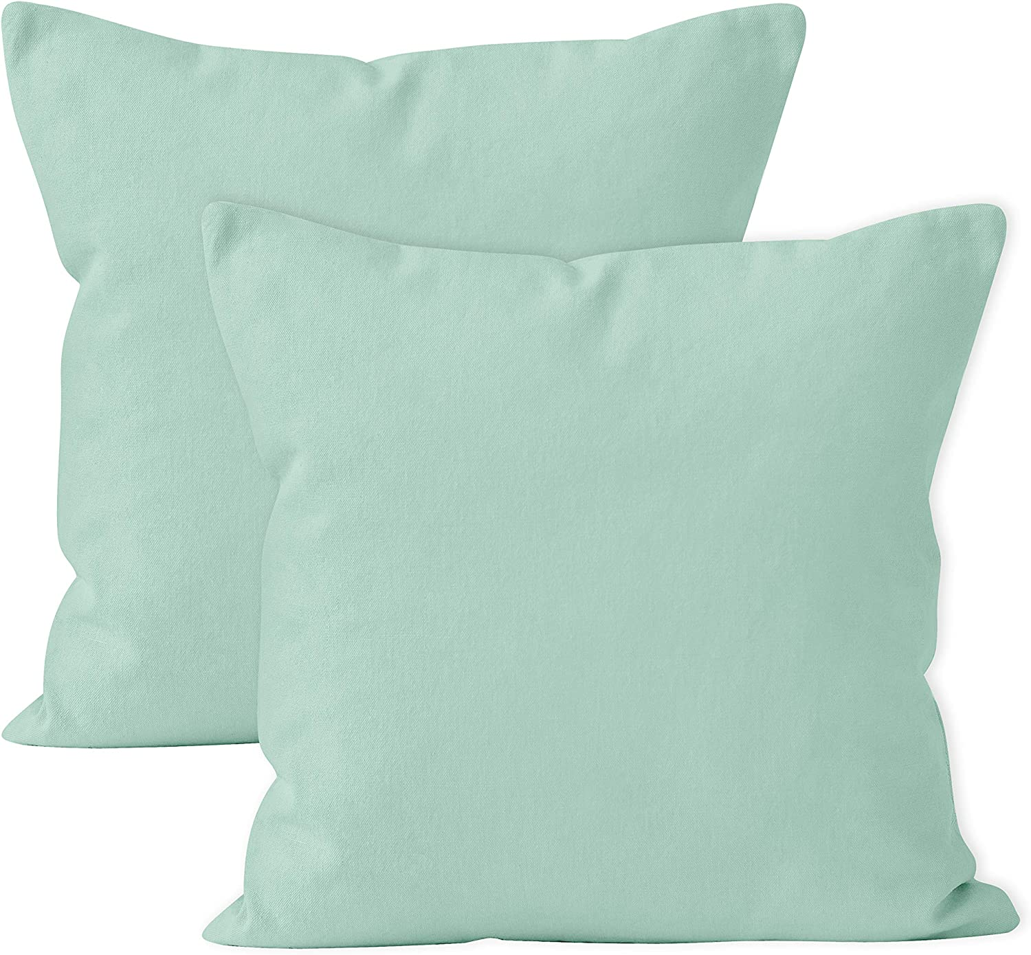 Encasa XO Throw Cushion Cover 2pc Set - Mint Green - 18 x 18 inch Solid Dyed Cotton Canvas Square Accent Decorative Pillow Case for Couch Sofa Chair Bed & Home