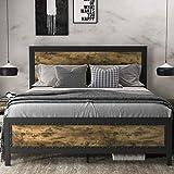 SHA CERLIN Grey Metal Bed Frame Queen / Industrial Wooden Platform Bed with Rivet Headboard Footboard / 13 Strong Steel Slat