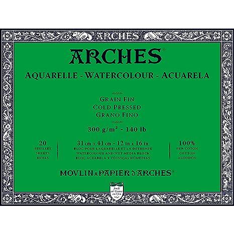 Arches 31 X 41 Cm 300 Gsm Cold Pressed Watercolour Block Amazon