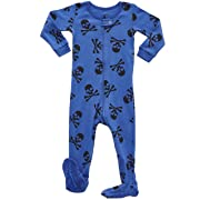 Leveret Kids Skull Blue Baby Boys Footed Pajamas Sleeper 100% Cotton (Size 6-12 Months)