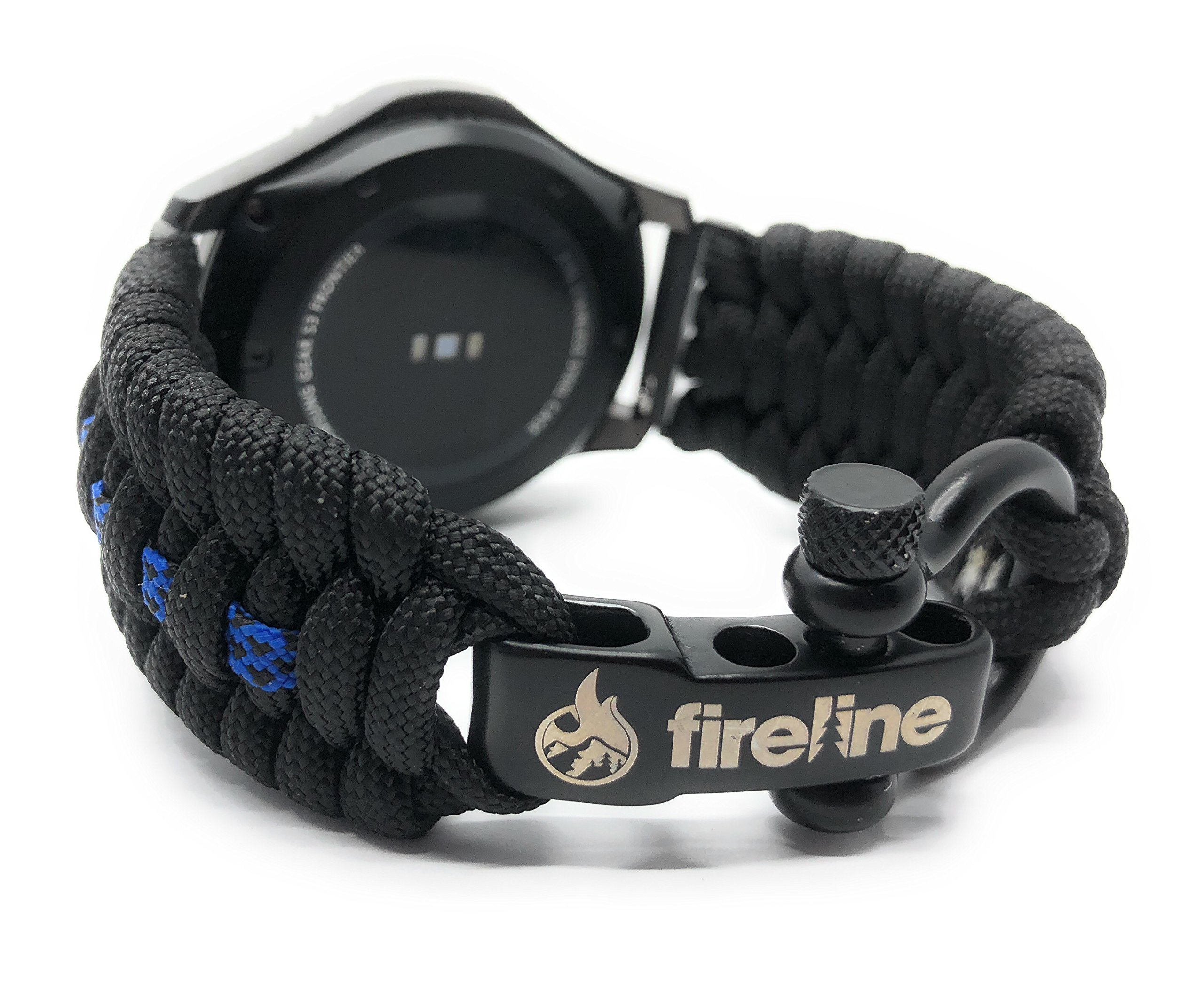 FireLine 22mm Paracord Watchband Tactical Band for Emergency and Survival | Firefighter Owned | Stainless Steel | Fits Samsung Gear S3 (Thin Blue Line, Large)