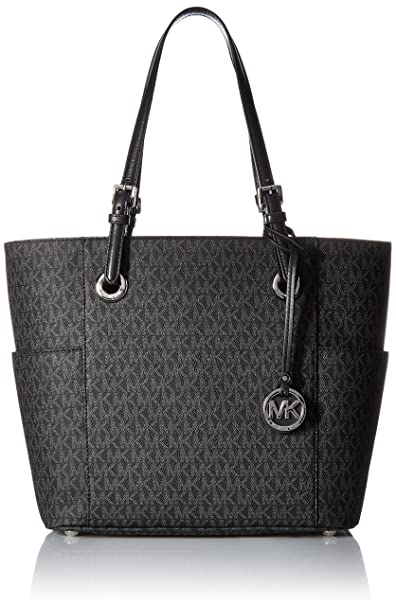 MICHAEL KORS Jet Set Travel Small Logo Tote - Black: Amazon ...