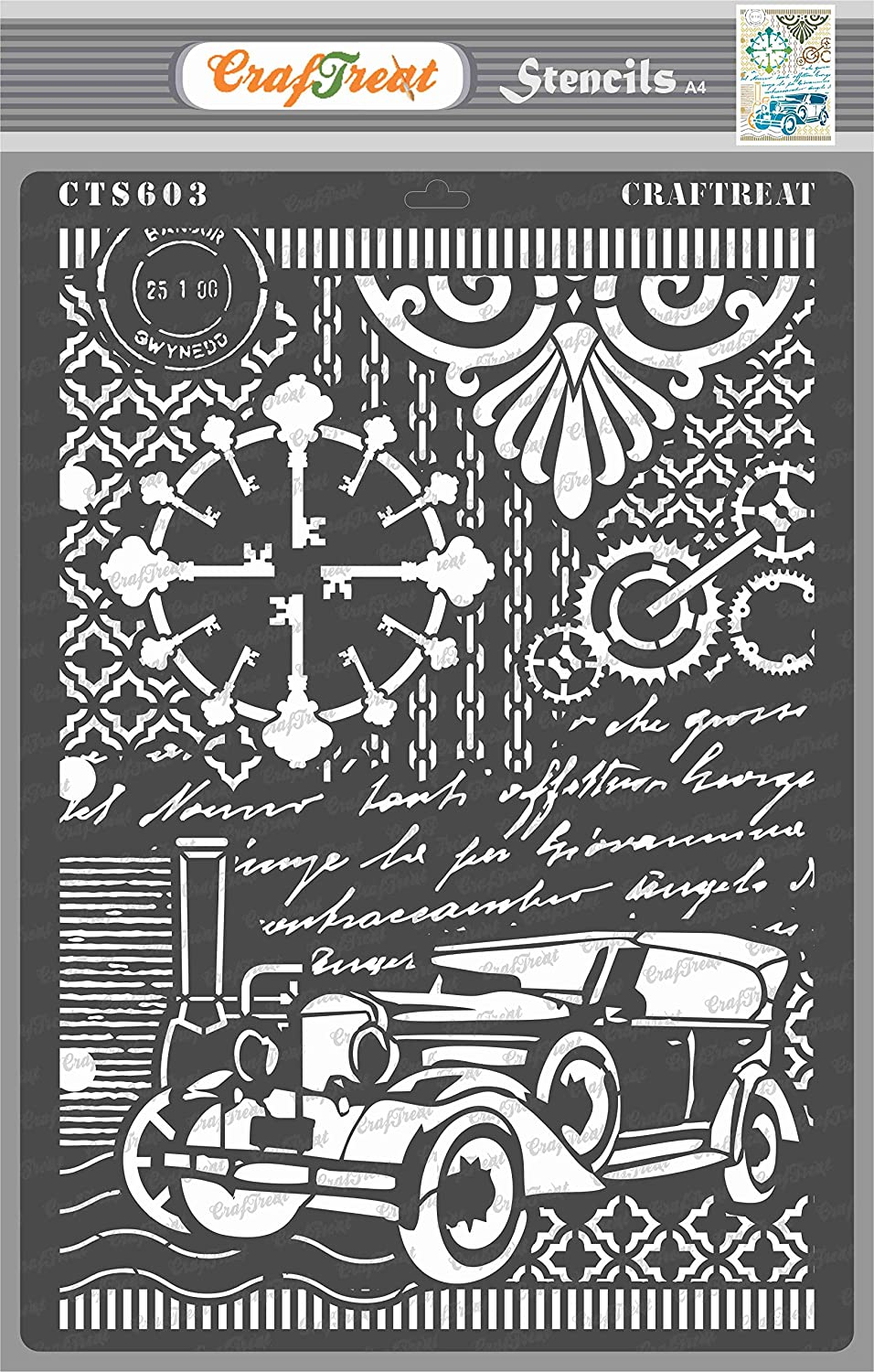 CrafTreat Car Stencils for Painting on Wood, Canvas, Paper, Fabric, Floor, Wall and Tile - Vintage Car - Size: A4 - Reusable DIY Art and Craft Stencils for Mixed Media Art - Car Stencils for Painting