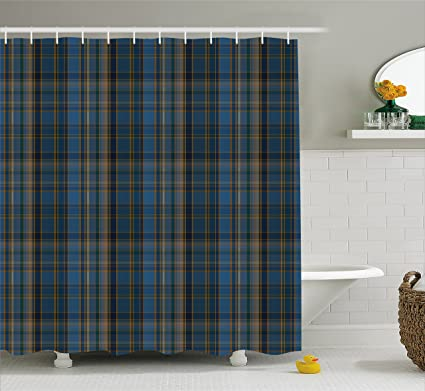 Lunarable Plaid Shower Curtain By Striped Geometric British Pattern With Modern Design Elements In Blue