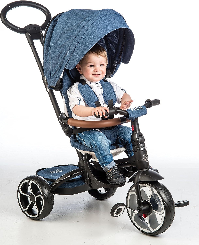 QPLAY Triciclo evolutivo Plegable Prime - Azul - De 10 a 36 Meses - Soporta hasta 25 Kg
