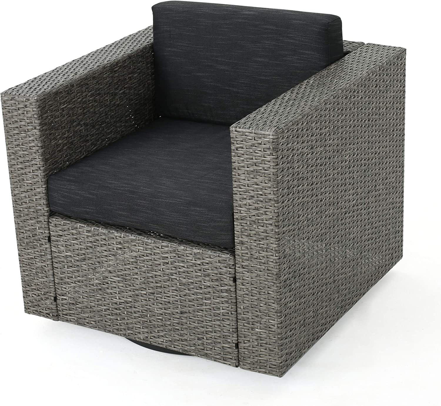 Venice Outdoor Dark Brown Wicker Swivel Club Chair with Beige Water Resistant Cushions (Single, Mix Black/Dark Grey)