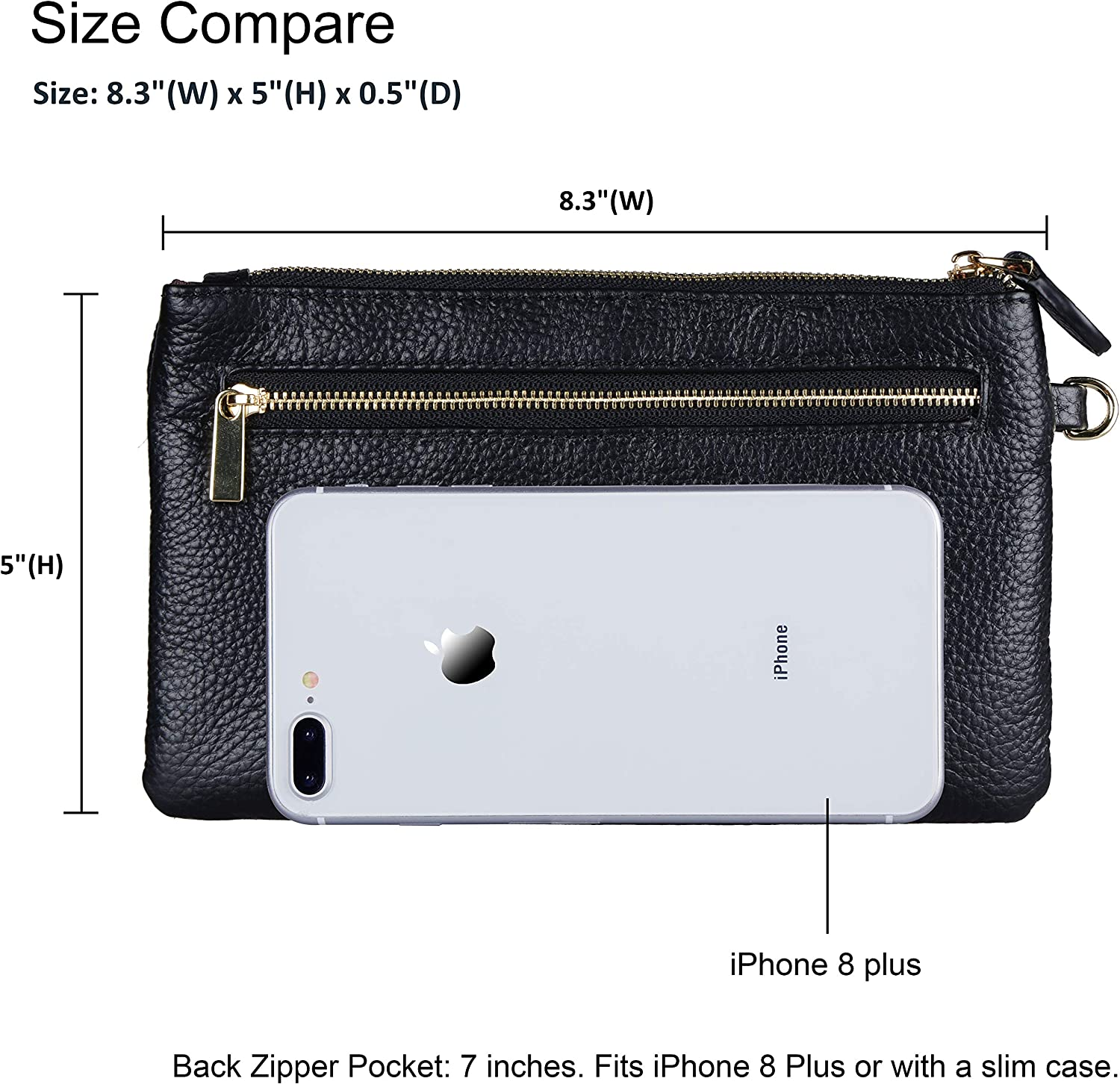 Fit iPhone 8 Plus or Phone Less 6.5 Inch 100/% Genuine Leather wristlet bags for women,Befen Real Leather Ladies Wristlet Purse with Detachable/Wrist Strap /& Zip Closure for Evening,Holiday