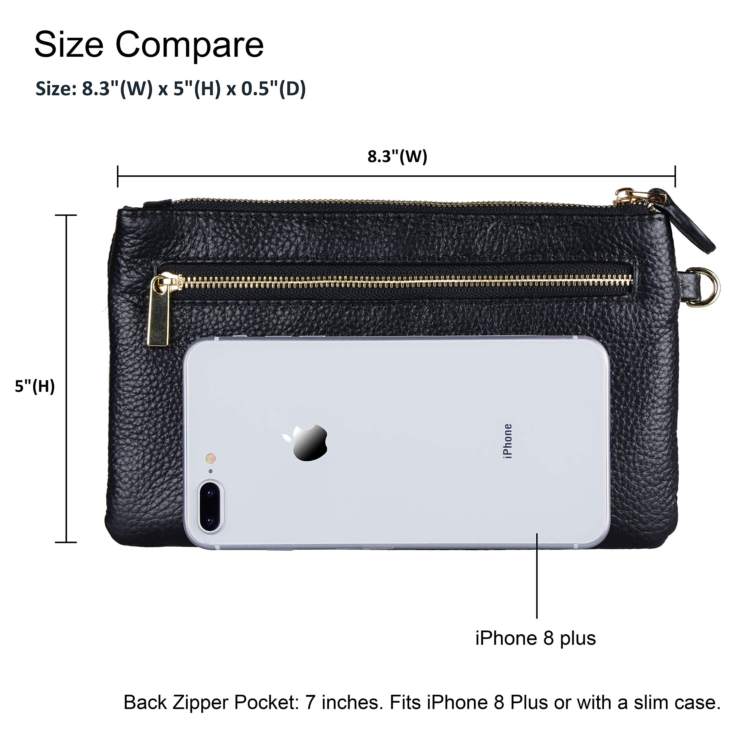 Befen Women Genuine Leather Clutch Wallet, Smartphone Wristlet Purse - Black by befen (Image #3)