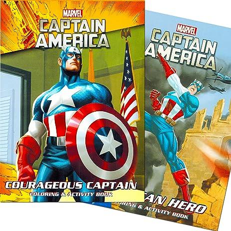 Amazon.com: Captain America Coloring Book Set (2 Books - 96 Pages ...