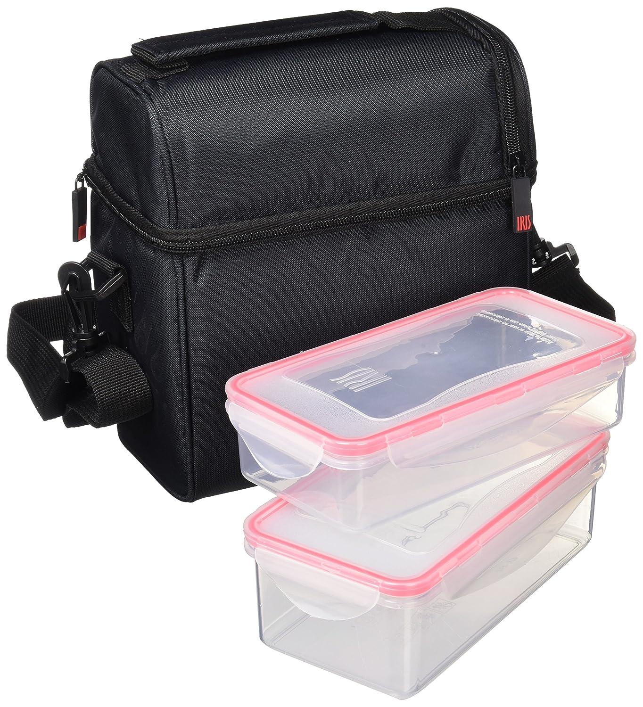 Iris optimal und Lebensmittetragetasche Wasserdicht mit 2 Containern und Flasche, Stoff und optimal Polyester, Schwarz, 21 x 12 x 23 cm 60c760