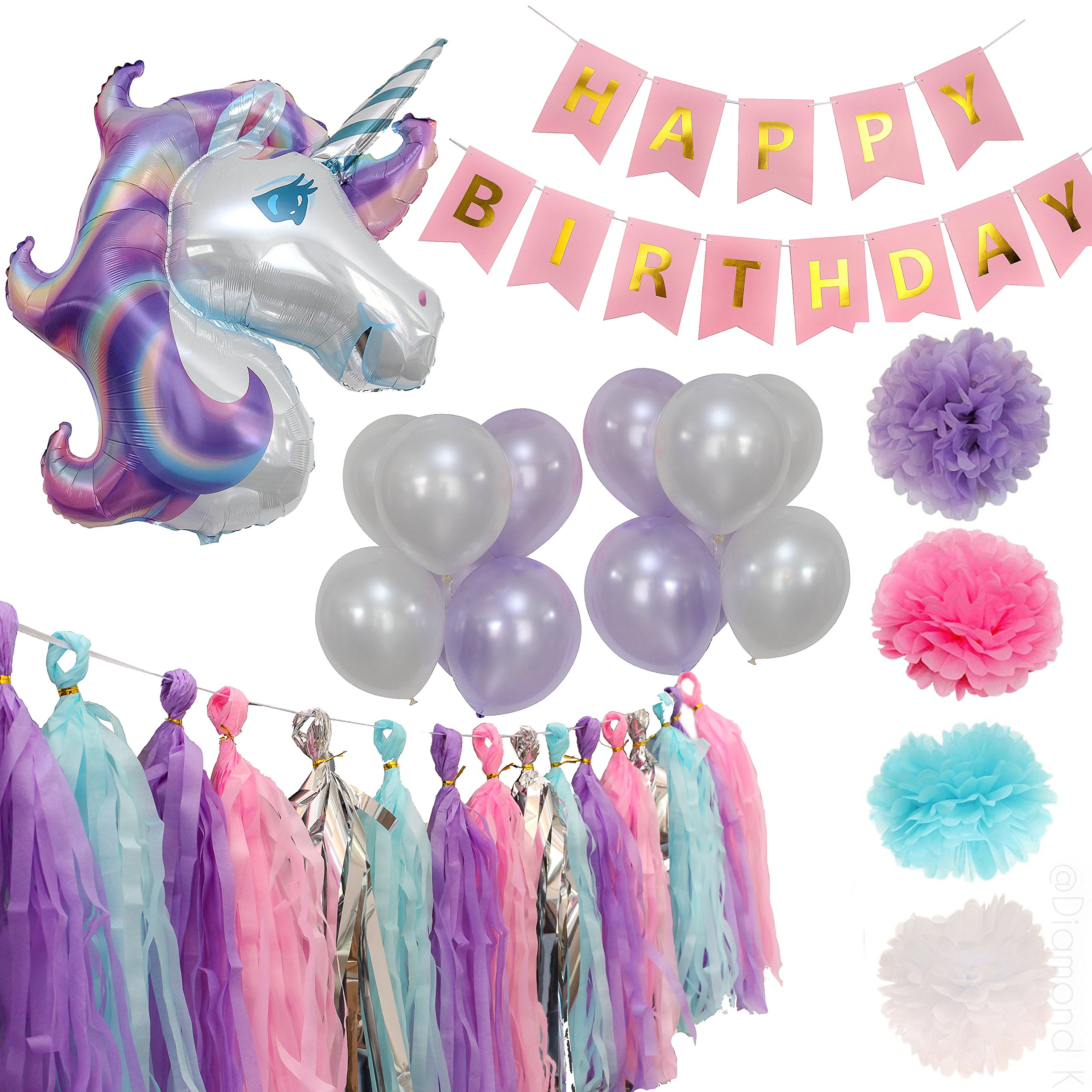 Party Maniak Unicorn Party Supplies Decorations for Girls with Banner, Foil and Latex Balloons, Tassels and Pom Pom (Silver)