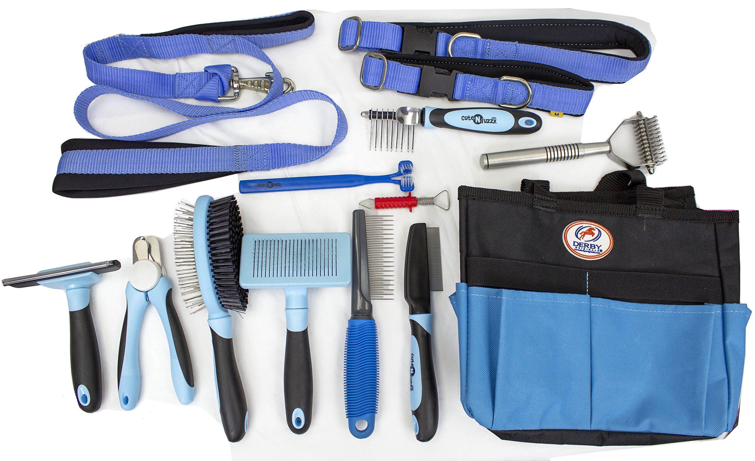 cuteNfuzzy 14 Piece New Large/Medium Dog Pet Grooming Starter Kit with Leash & Collar (Blue)
