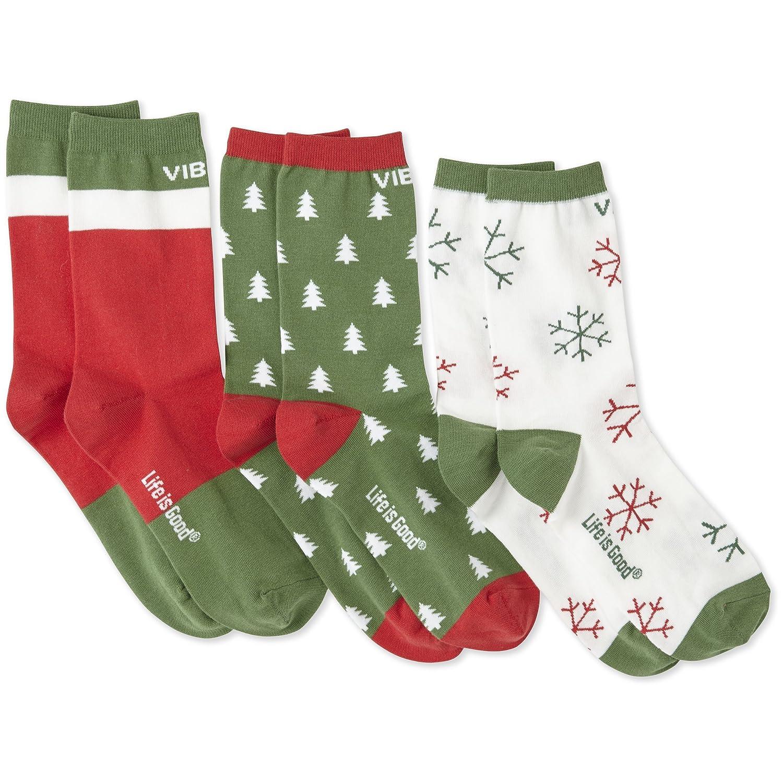 Life is good Women's Bundle Good Vibes Holiday Crew Socks