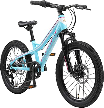 BIKESTAR Bicicleta de montaña de Aluminio Bicicleta Juvenil 20 Pulgadas de 6 a 9 años | Cambio Shimano de 7 velocidades, Freno de Disco, Horquilla de suspensión | niños Bicicleta Turquesa Blanco: