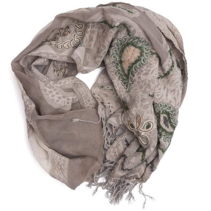 disegno Paisley 100/% lana disegni differenti ufash Sciarpa pashmina ricamata a mano ed calda dal Punjab 180 x 70 cm India