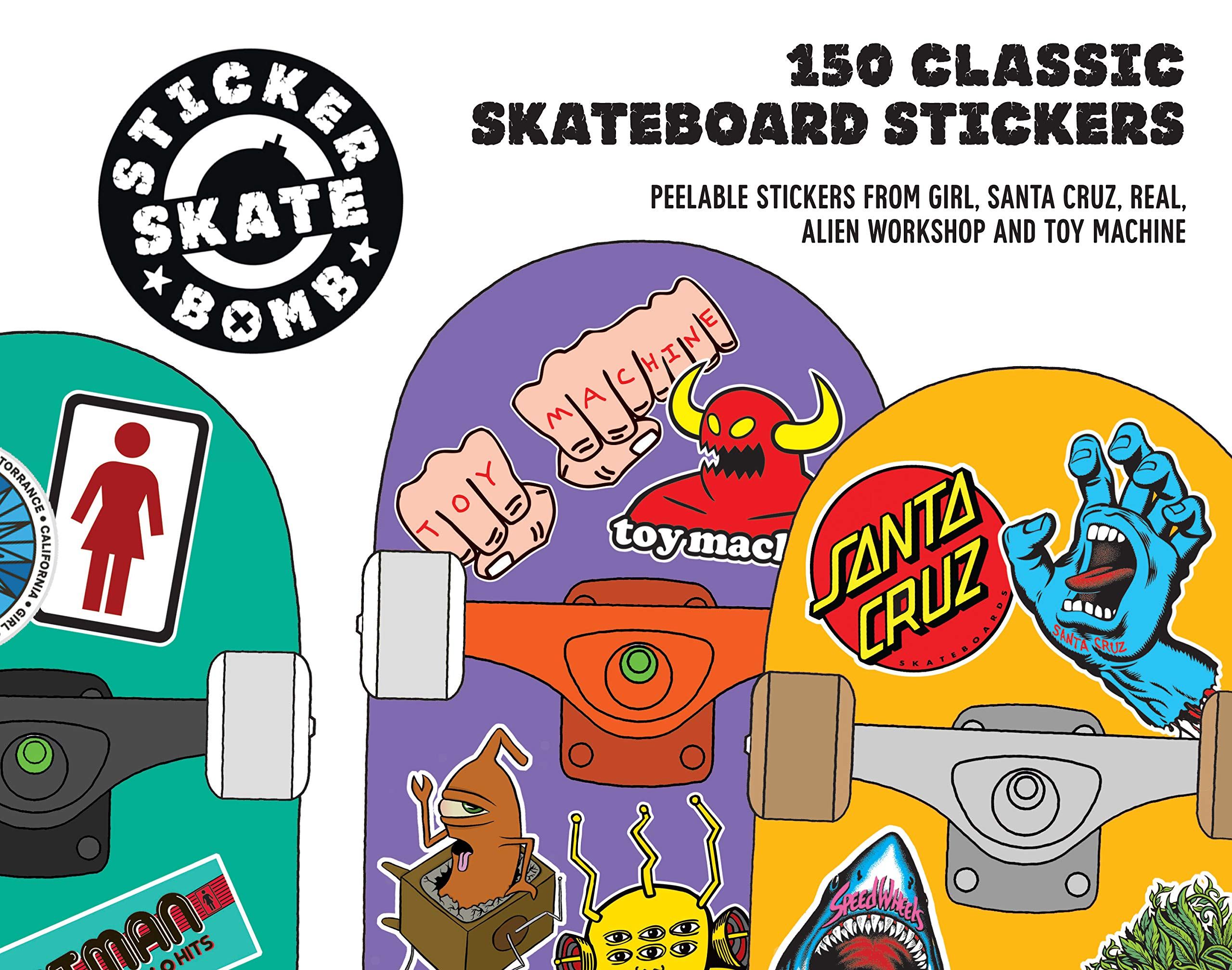Stickerbomb skateboard 150 classic skateboard stickers studio rarekwai srk 9781780674124 amazon com books