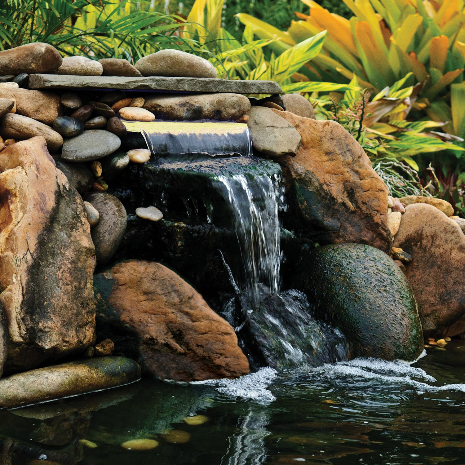 Pond Boss White Lit Waterfall Spillway, 12-Inch