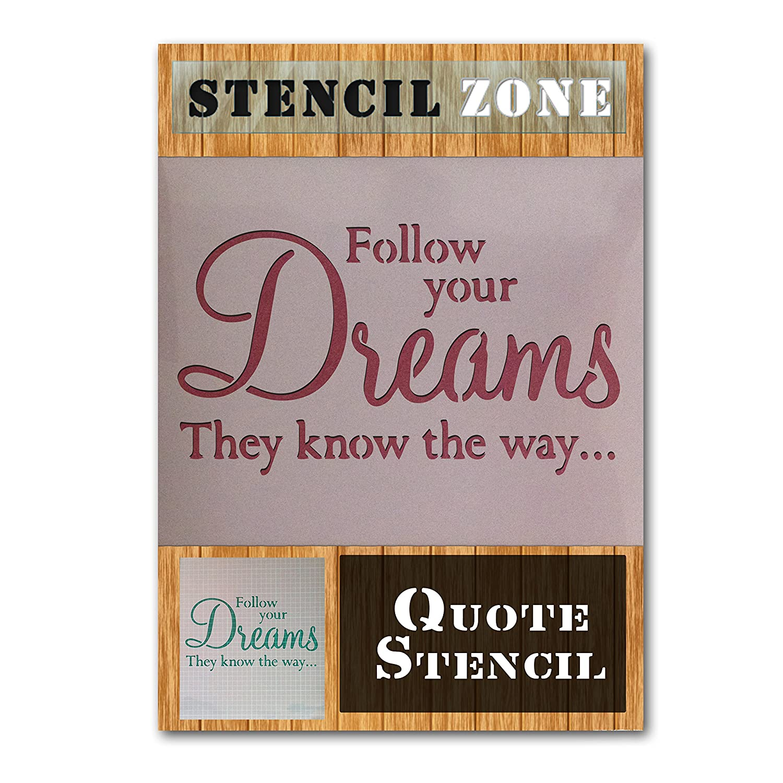 Follow Your Dreams Vintage Shabby Chic Mylar Painting Wall Art Stencil (A1 Size Stencil - Xlarge) STENCIL ZONE