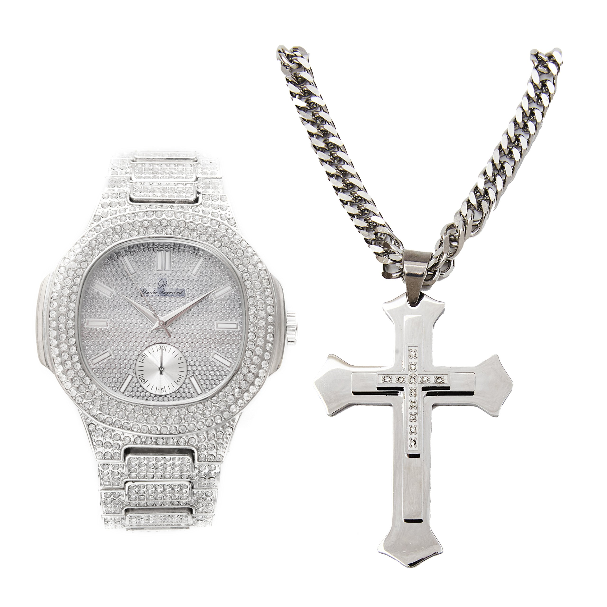 Bling-ed Out Mens Silver Oblong Case Rapper's Metal Hip Hop Watch with Matching Bling-ed Out Stainless Steel Silver Cross Necklace - 8475SLV- LR1020C Silver Cross Set