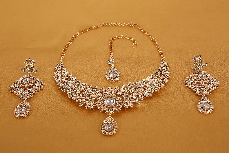 Touchstone Bollywood indien charmant regard fine filigrane rhin scintillant s designer bijoux collier ensemble pour femme Or