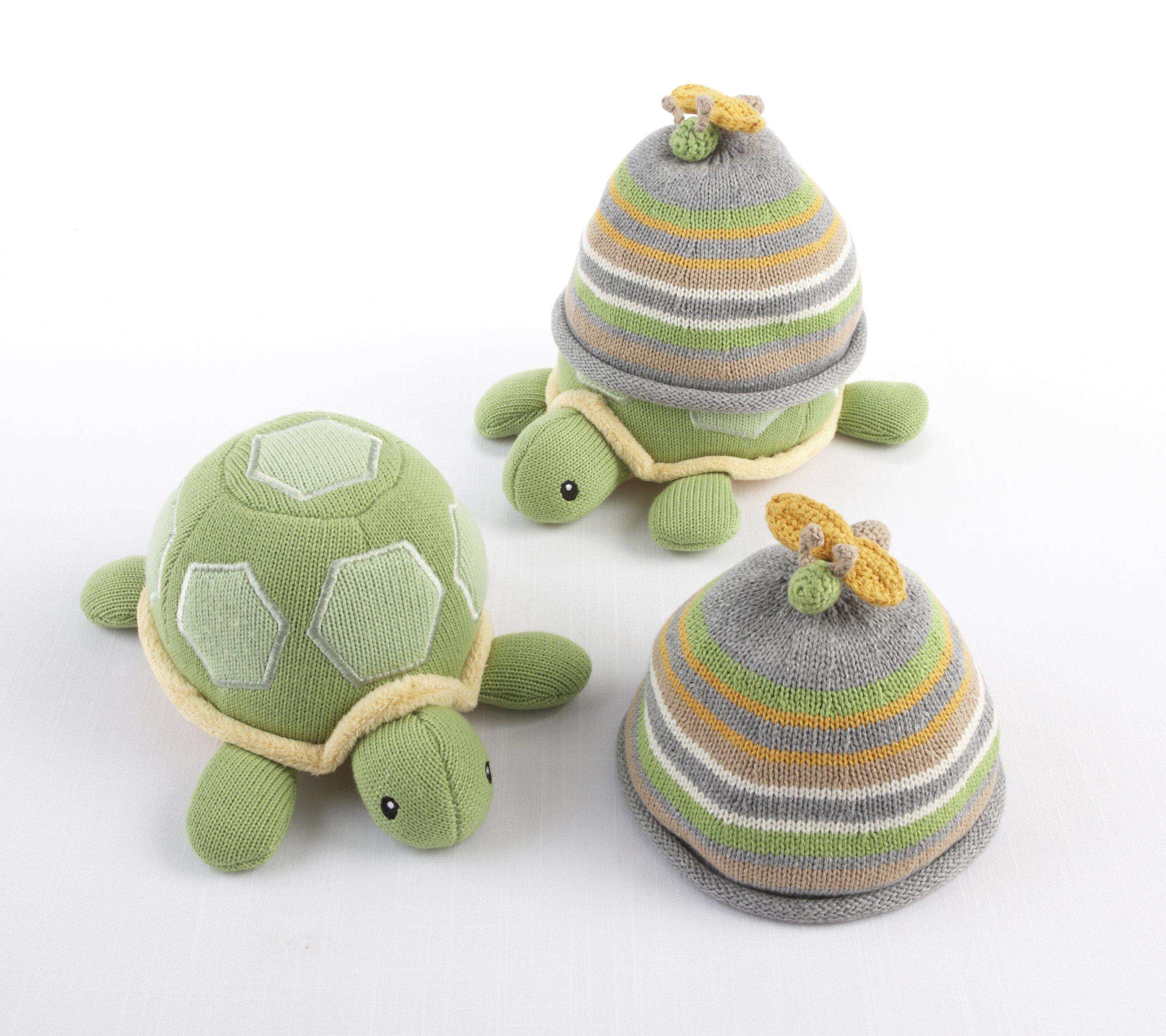 Baby Aspen Turtle Toppers Baby Hat and Turtle Plush Gift Set, Yellow by Baby Aspen (Image #2)