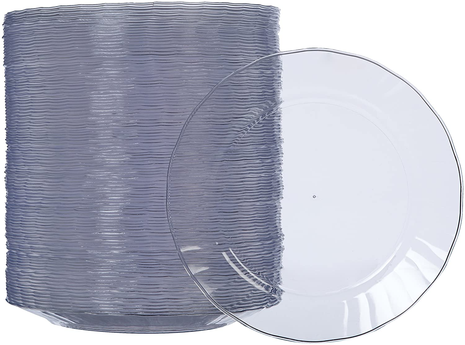 AmazonBasics Disposable Plastic Plates - 100-Pack, 7.5-inch