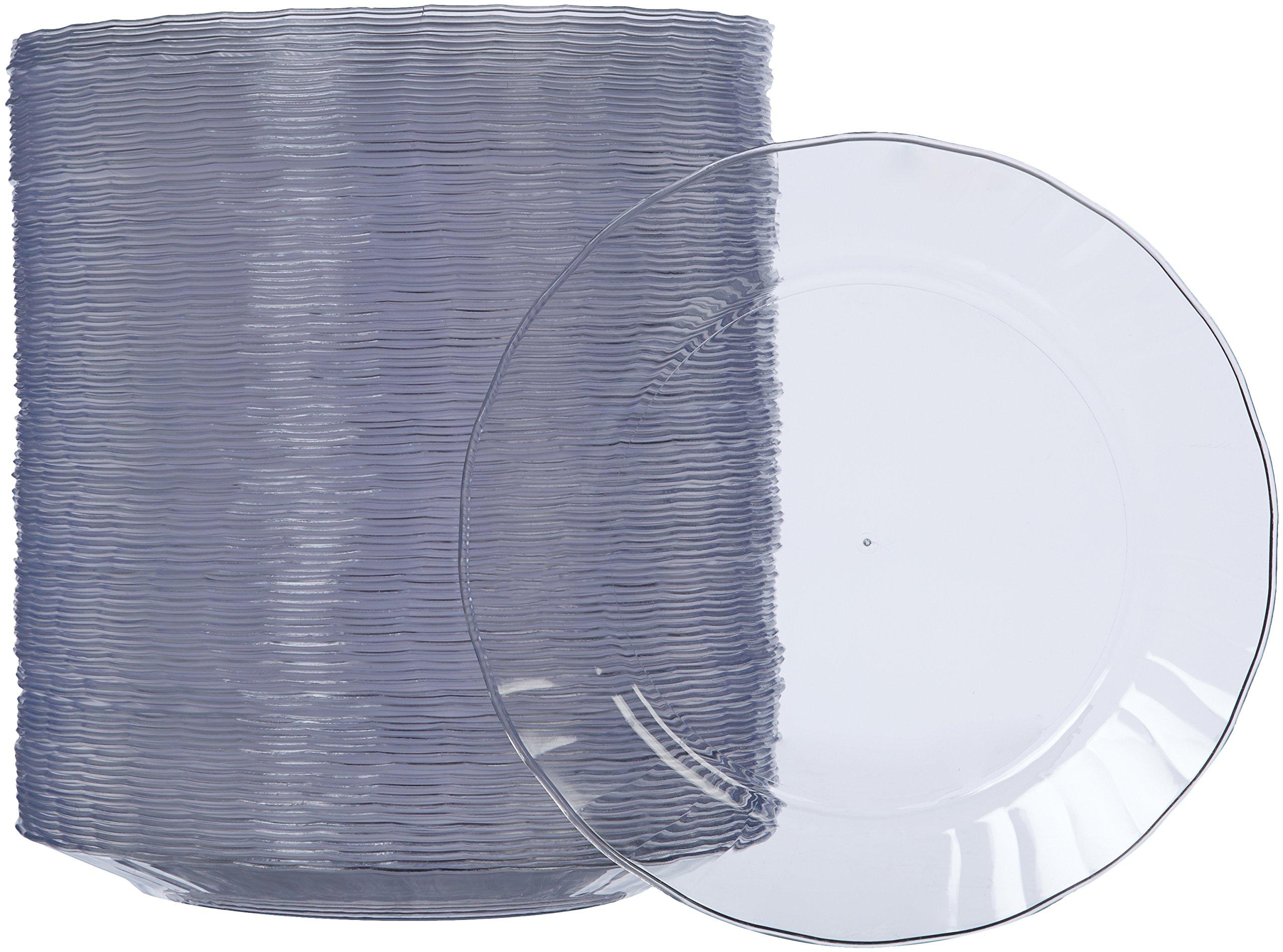 AmazonBasics Disposable Clear Plastic Plates, 100-Pack, 7.5-inch by AmazonBasics