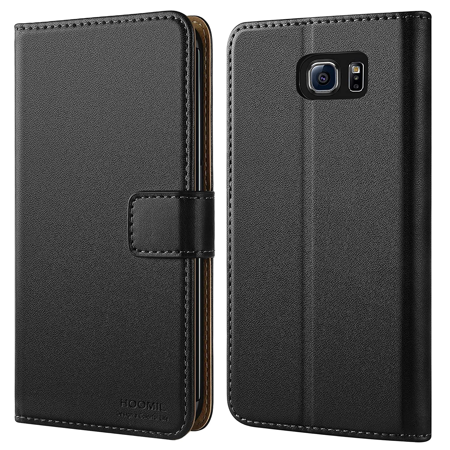competitive price 3ff59 e211c HOOMIL Case Compatible with Samsung Galaxy S6 Edge, Premium Leather Flip  Wallet Phone Case for Samsung Galaxy S6 Edge Cover (Black)
